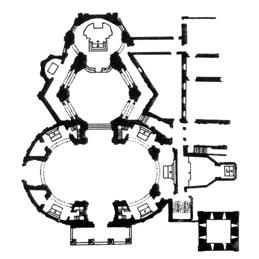 Prospetto della chiesa di S.Andrea e Santuario, litografia
