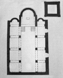 Pianta ricostruita della Chiesa di S.Andrea, come si presentava nel XV e XVII sec