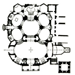 Pianta del Santuario  nel progetto di ampliamento Ceppi-Vandone 1899-1904