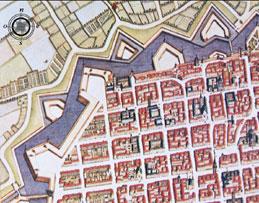 Incisione anonima della pianta di Torino su disegno del 1674 di T.Borgonio