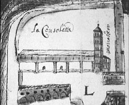 Disegno del 1640 rappresentante il quartiere di Porta Pusterla